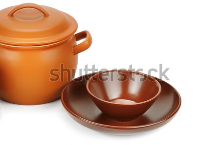 set of clay pots isolated on a white background Stock photo © alinamd