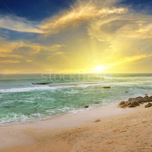 Zonsopgang oceaan fantastisch zon water voorjaar Stockfoto © alinamd