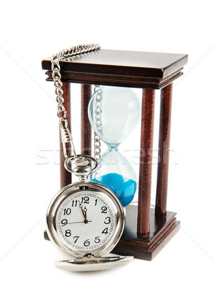 hourglass and a pocket watch Stock photo © alinamd