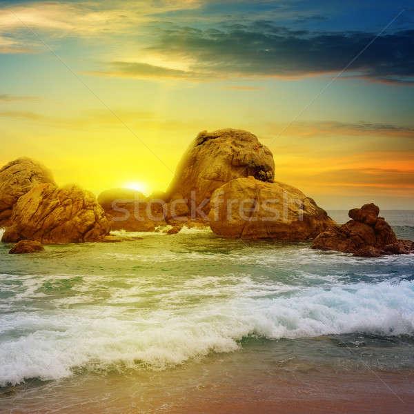 sea landscape with rocky island and the sunrise Stock photo © alinamd
