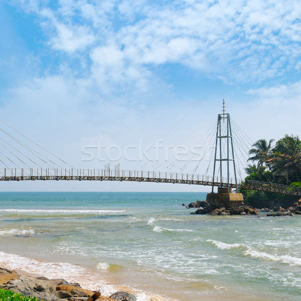 Bridge to the island with a Buddhist temple, Matara, Sri Lanka Stock photo © alinamd