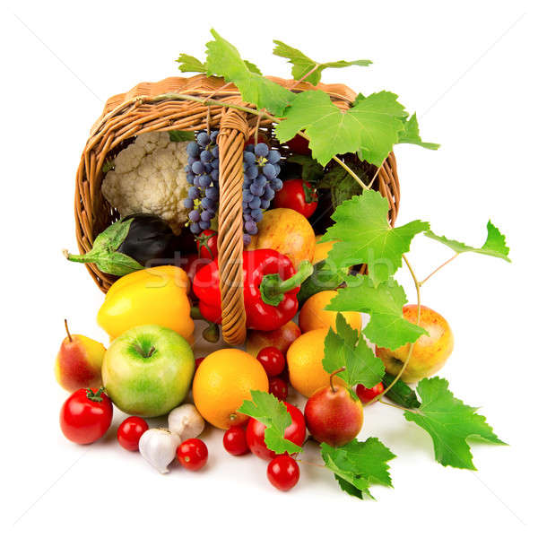 collection of fruits and vegetables in a wicker basket Stock photo © alinamd
