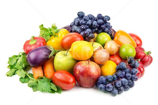 Stock fotó: Szett · különböző · gyümölcsök · zöldségek · izolált · fehér