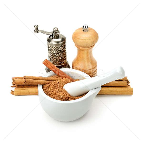 Fahéj malom daráló izolált fehér étel Stock fotó © alinamd