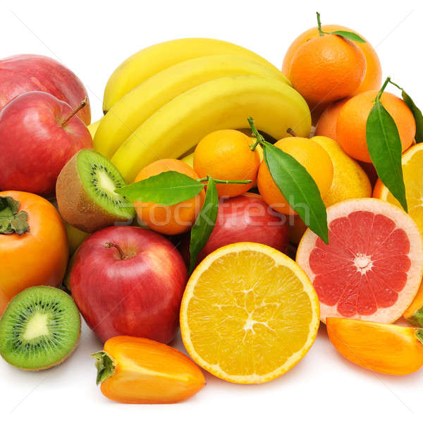 Stock photo: set of fruits isolated on white background