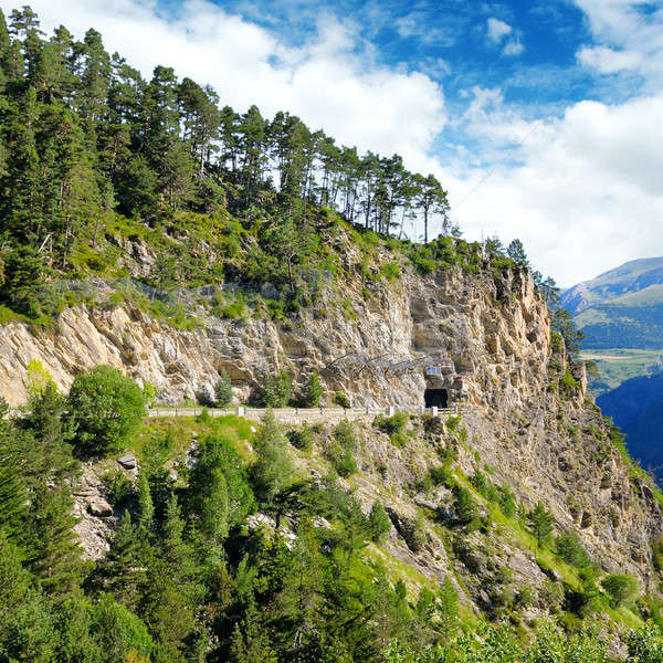 Mountains of Pyrenees, high-altitude road and tunnel. Stock photo © alinamd