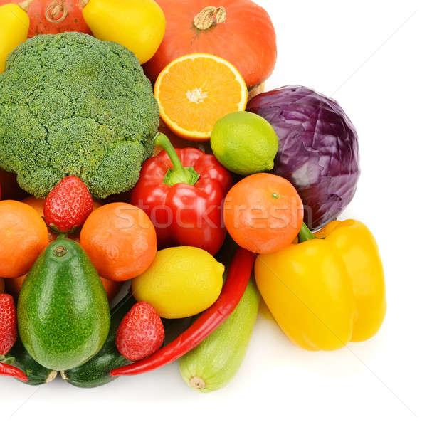 Früchte Gemüse isoliert weiß Gruppe Erdbeere Stock foto © alinamd