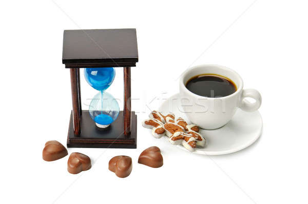 hourglass and a cup of coffee isolated on white background Stock photo © alinamd