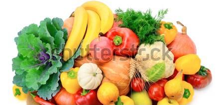 Vruchten groenten geïsoleerd witte blad oranje Stockfoto © alinamd