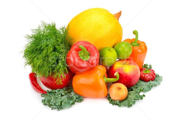 Meyve sebze yalıtılmış beyaz ayarlamak arka plan Stok fotoğraf © alinamd