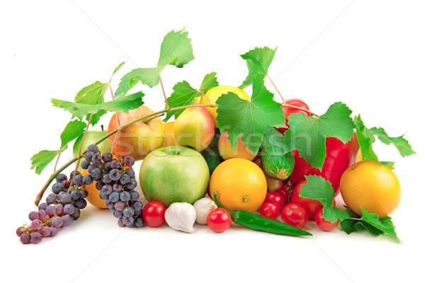 Stock photo: set of different fruits and vegetables