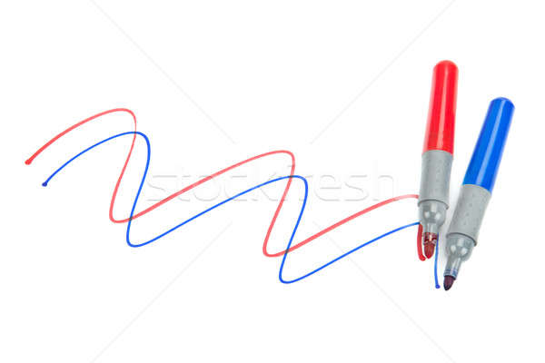 set of colored markers on white background Stock photo © alinamd
