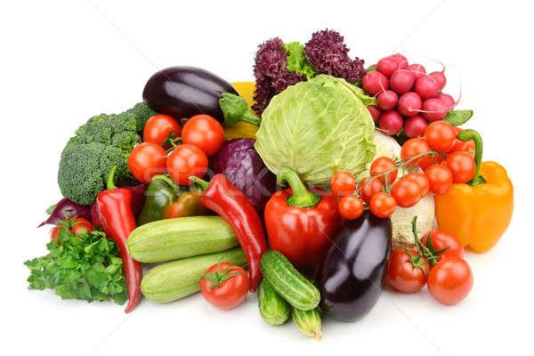 ストックフォト: 野菜 · 孤立した · 白 · セット · 背景 · 緑