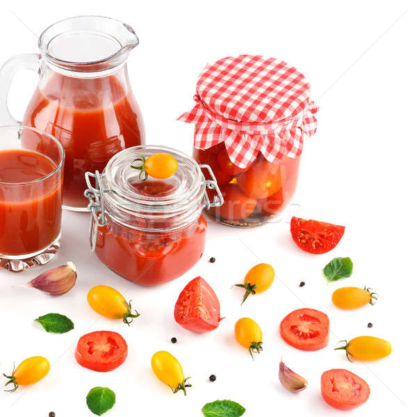 tomato juice, ketchup and tomato isolated on white background Stock photo © alinamd
