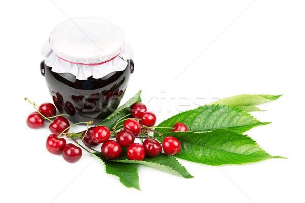 Cherry jam and cherries isolated on white background Stock photo © alinamd