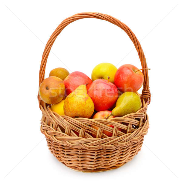 ripe apples and pears in the basket isolated on white background Stock photo © alinamd