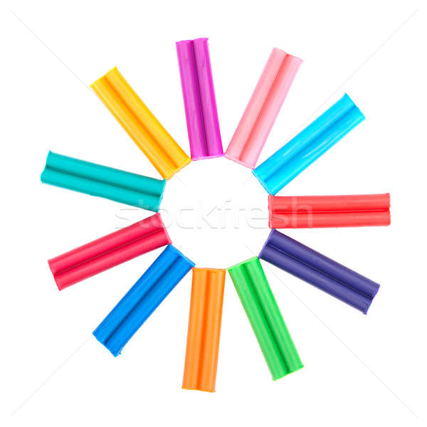 set of colored plasticine isolated on white background Stock photo © alinamd