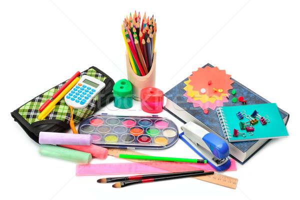 Zestaw przybory szkolne odizolowany biały papieru książki Zdjęcia stock © alinamd