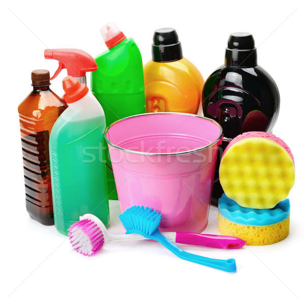 set of household chemicals, bucket and brushe for cleaning isola Stock photo © alinamd