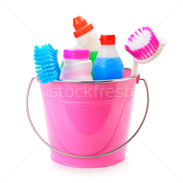 set of household chemicals, bucket and brushes for cleaning isol Stock photo © alinamd