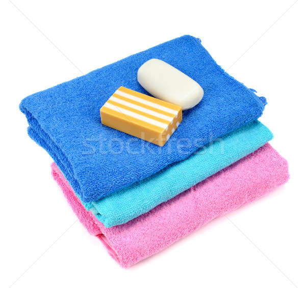 Stack of towels and soap Stock photo © alinamd