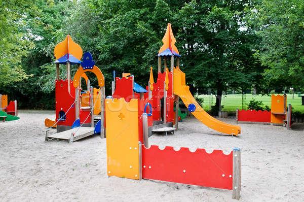 Oyun alanı oynamak çocuklar bahçe mavi eğlence Stok fotoğraf © alinamd