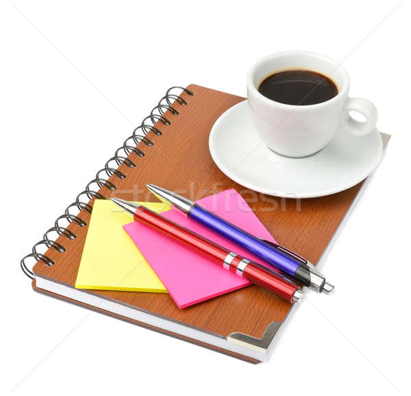 notebook and cup of coffee Stock photo © alinamd