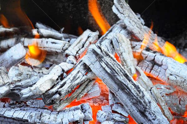 Feu de joie feu bois charbon cendres texture Photo stock © alinamd
