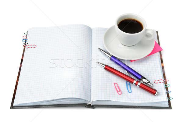 ストックフォト: 文房具 · カップ · コーヒー · 孤立した · 白 · ペン