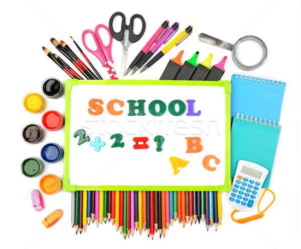 набор школьные принадлежности изолированный белый пер карандашом Сток-фото © alinamd