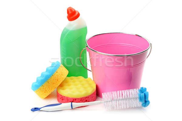 Stock fotó: Vödör · vegyi · termékek · takarítás · izolált · fehér
