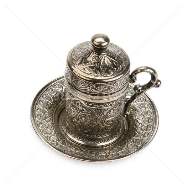 Кубок блюдце металл изолированный белый кафе Сток-фото © alinamd