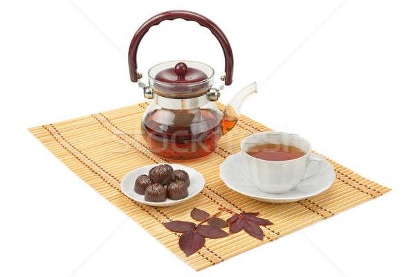 tea and tea utensils isolated on white background Stock photo © alinamd
