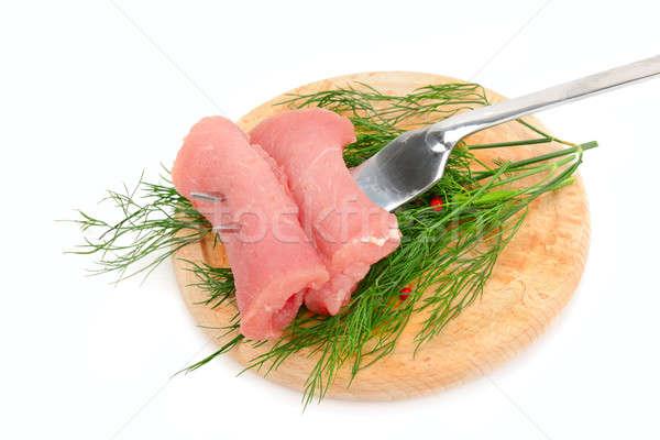 Foto d'archivio: Carne · filetto · forcella · isolato · bianco · alimentare