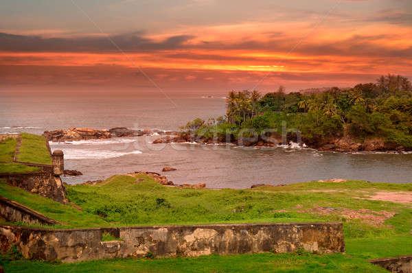 海 風光明媚な 半島 日没 表示 砦 ストックフォト © alinamd