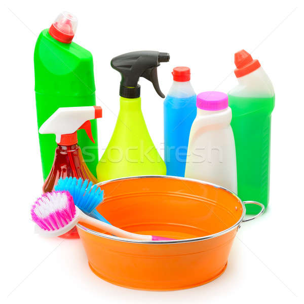 set of household chemicals, hand basin and brushes for cleaning  Stock photo © alinamd