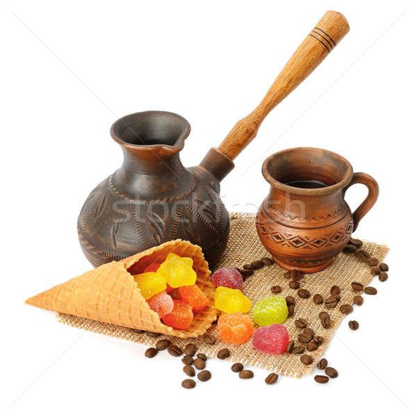 Stockfoto: Koffie · pot · beker · geïsoleerd · witte · cake