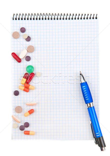 Prescripción médicos pluma naranja laboratorio Foto stock © alinamd