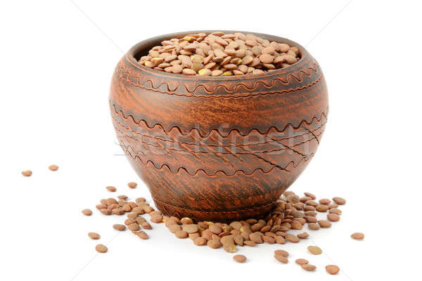lentils in a clay pot isolated on white background Stock photo © alinamd