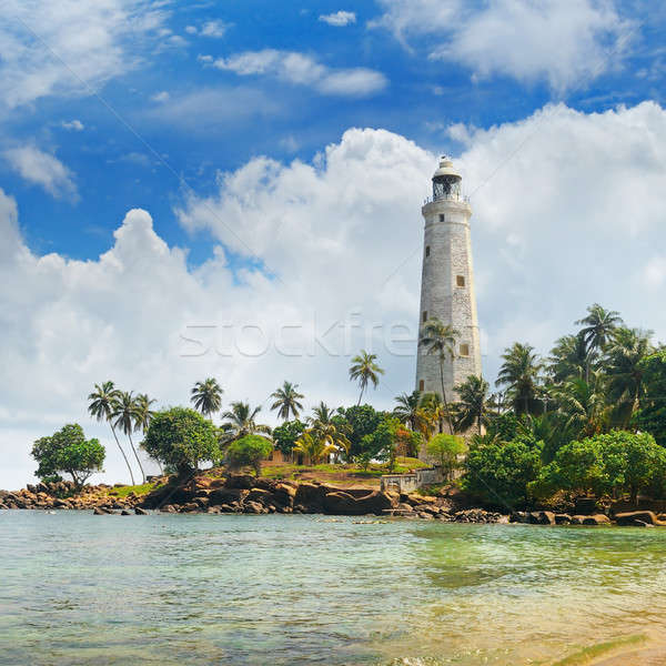 Phare tropicales palmiers Sri Lanka plage arbre Photo stock © alinamd