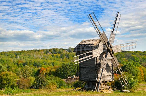 木製 風車 フィールド 空 古い 木材 ストックフォト © alinamd