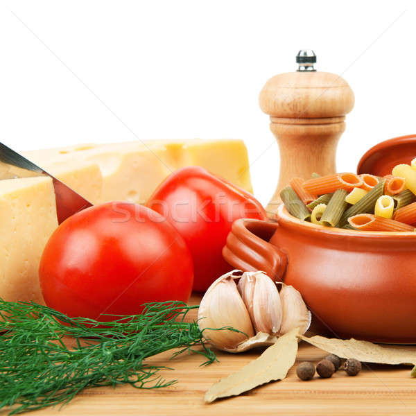 vegetables, pasta, spices and kitchen utensils Stock photo © alinamd