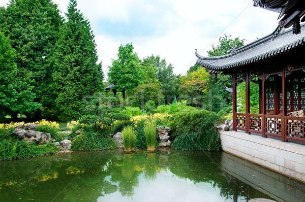park with a lake and pagoda Stock photo © alinamd