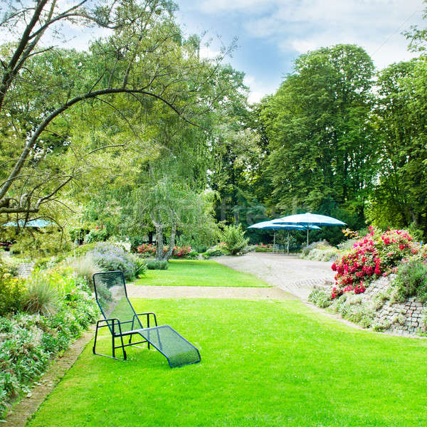 beautiful summer park with green lawns and flower beds Stock photo © alinamd