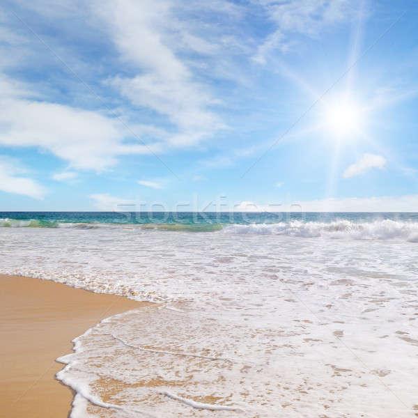 Océano playa de arena cielo azul playa agua sol Foto stock © alinamd