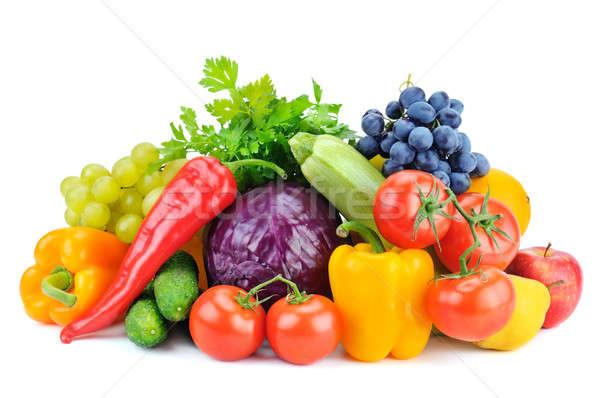 Owoce warzyw odizolowany biały liści tle Zdjęcia stock © alinamd