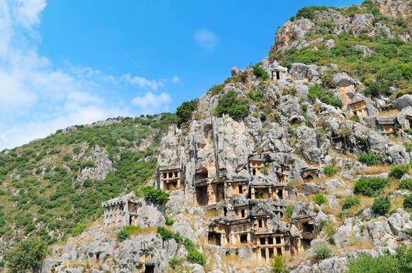 Turquia construção paisagem azul montanhas pedra Foto stock © alinamd