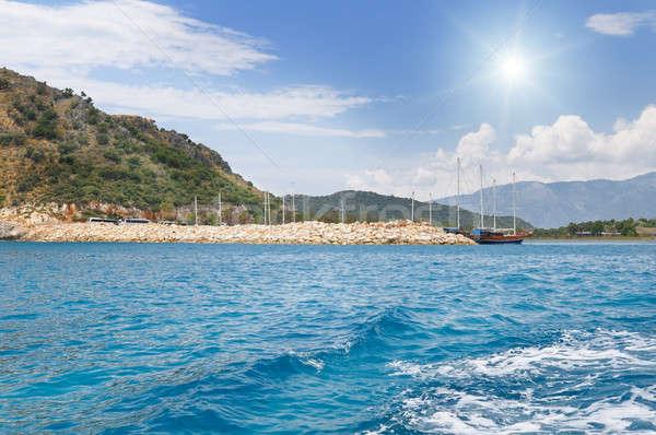 живописный морской пейзаж Blue Sky солнце яхта воды Сток-фото © alinamd