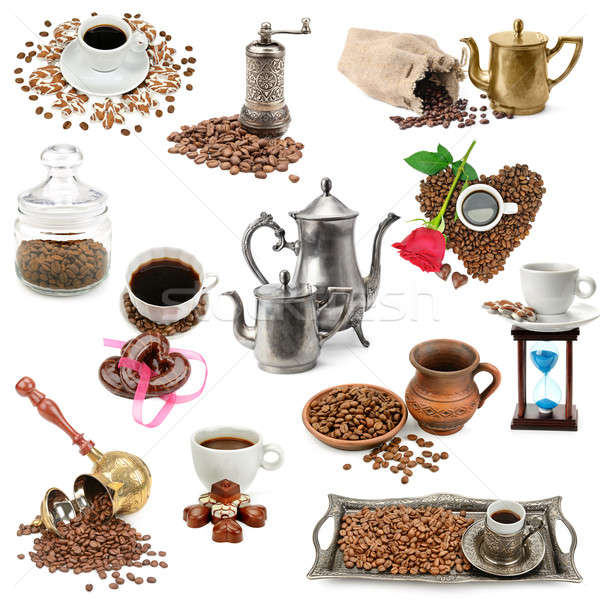 collage of coffee beans and kitchen utensils Stock photo © alinamd