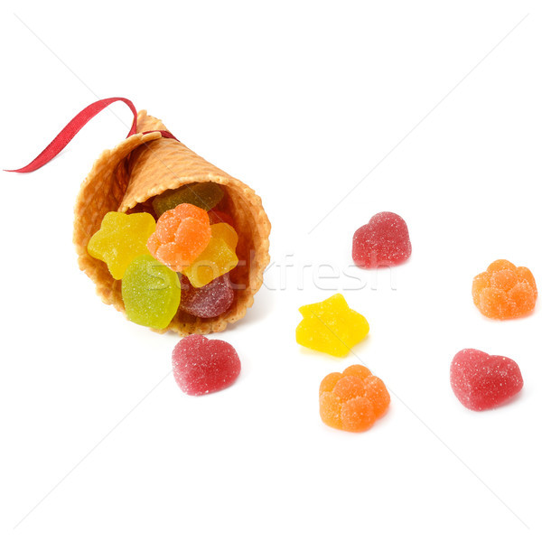 Frutta gelatina cialda Cup isolato bianco Foto d'archivio © alinamd